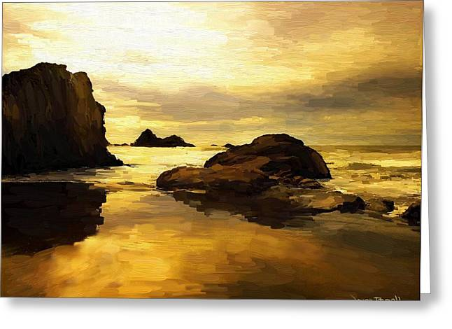 Greeting Card featuring the painting Golden Sands by Wayne Pascall