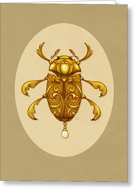 Golden Scroll Beetle Greeting Card by Catherine Noel