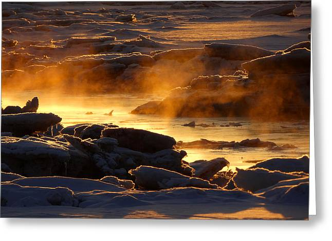 Golden Sea Smoke At Sunrise Greeting Card by Dianne Cowen