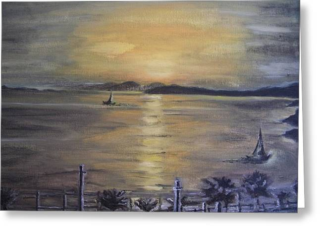 Greeting Card featuring the painting Golden Sea View by Teresa White