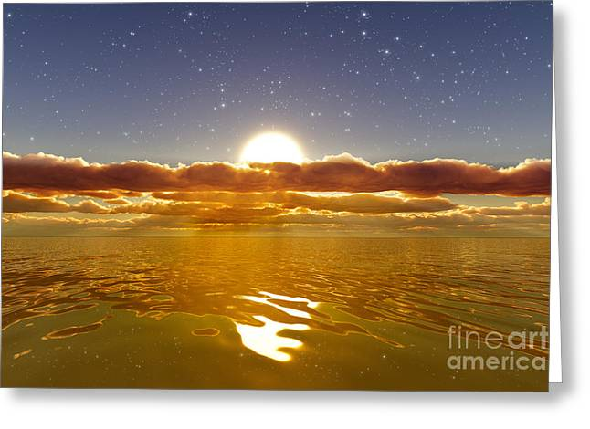Golden Sea With Stars Greeting Card