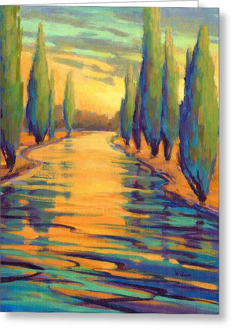 Greeting Card featuring the painting Golden Silence 3 by Konnie Kim