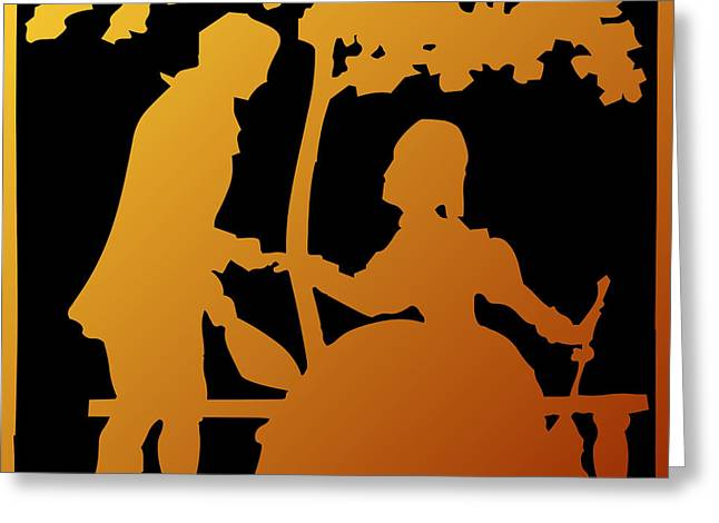 Golden Silhouette Garden Proposal Will You Marry Me Greeting Card by Rose Santuci-Sofranko