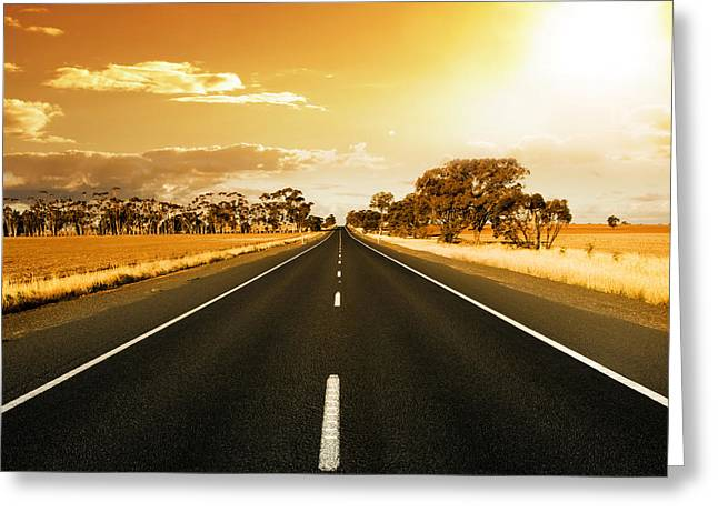 Golden Sky And Road Greeting Card by Boon Mee