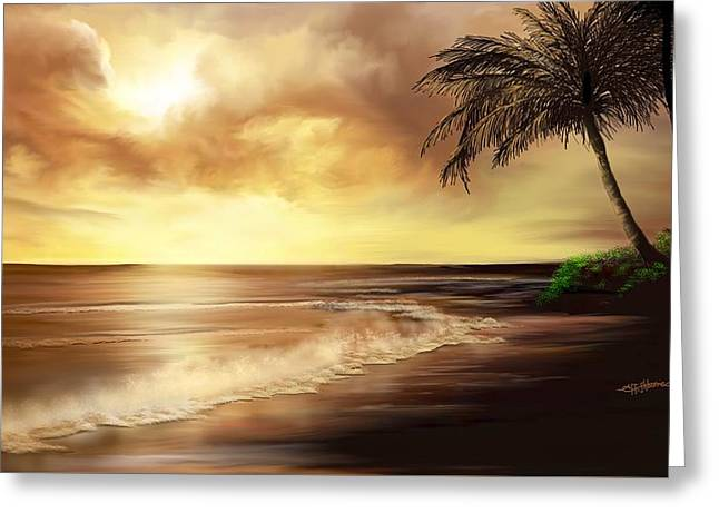 Golden Sky Over Tropical Beach Greeting Card