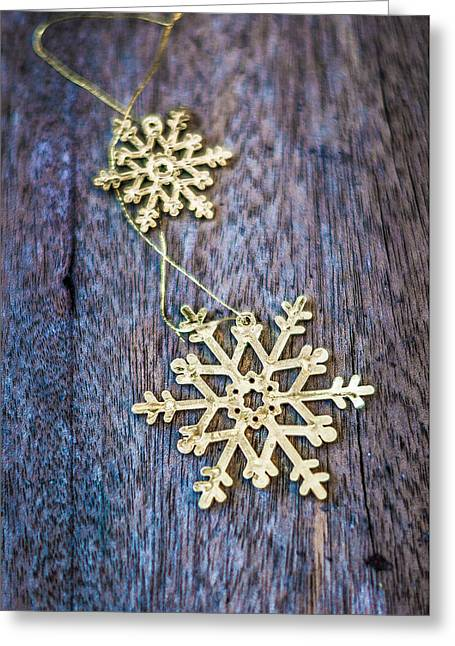 Golden Snowflakes On Woodn Texture Greeting Card