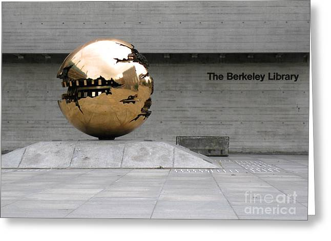 Greeting Card featuring the photograph Golden Sphere By The Berkeley Library by Menega Sabidussi