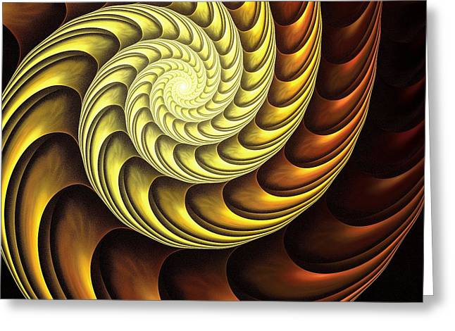 Golden Spiral Greeting Card by Anastasiya Malakhova
