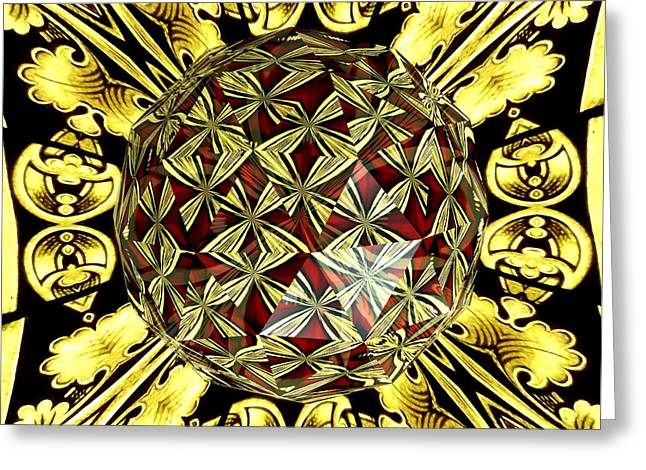Golden Stained Glass Kaleidoscope Under Glass Greeting Card by Rose Santuci-Sofranko
