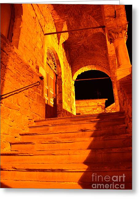 Golden Stairs Greeting Card by Ramona Matei