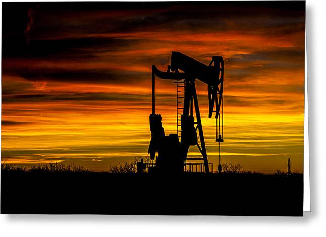 Golden Sunrise And West Texas Black Gold Greeting Card