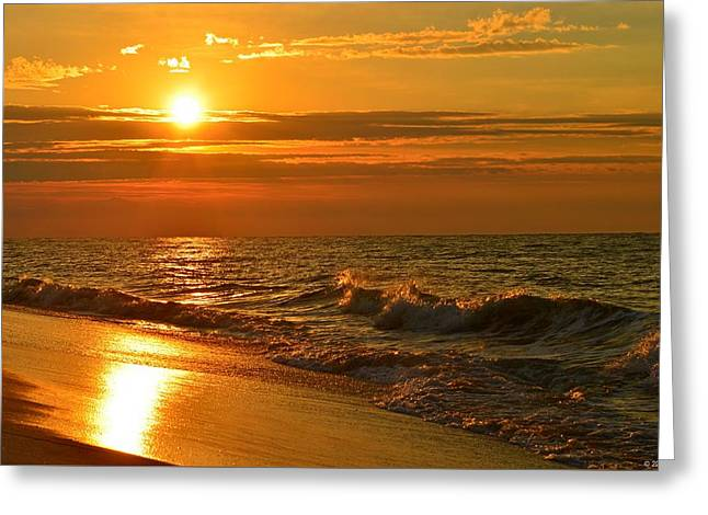 Golden Sunrise Colors With Waves And Horizon Clouds On Navarre Beach Greeting Card