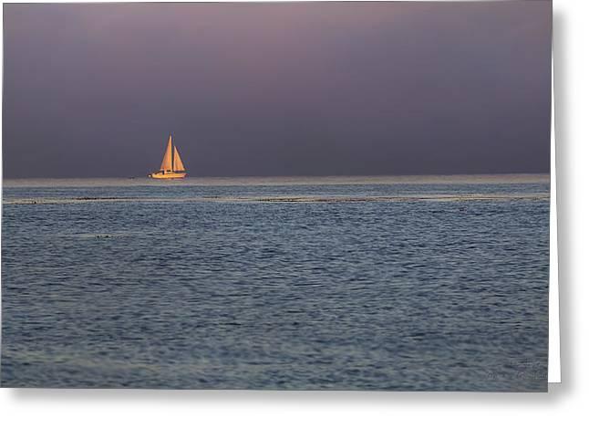 Golden Sunrise Sails By Denise Dube Greeting Card