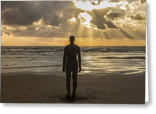 Golden Sunset At Crosby Beach Greeting Card