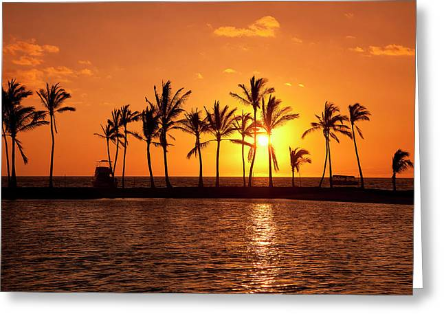 Golden Sunset In An Orange Sky Greeting Card