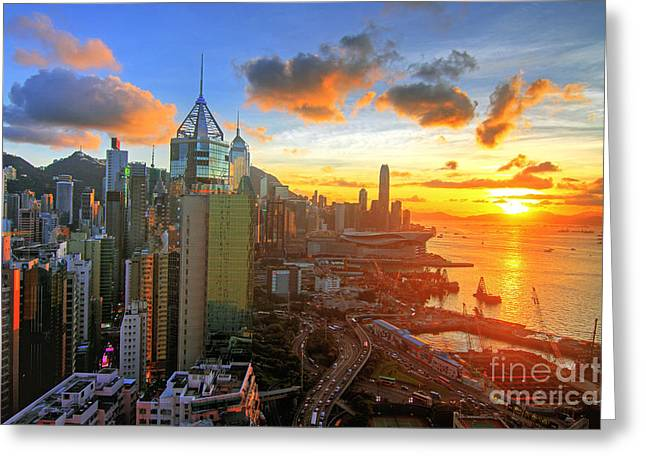 Golden Sunset In Hong Kong Greeting Card by Lars Ruecker