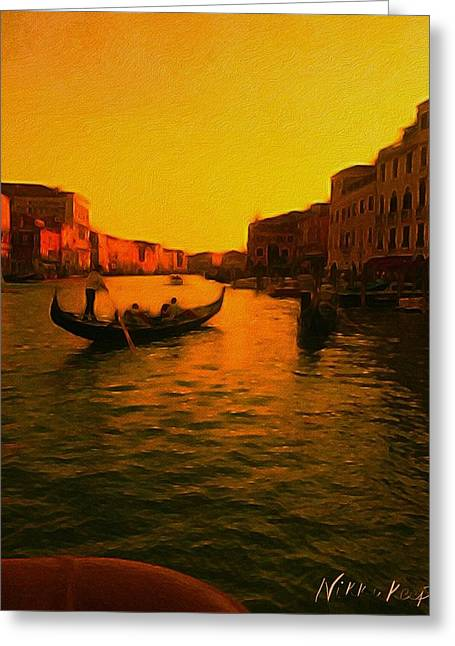 Golden Sunset In Venice Greeting Card