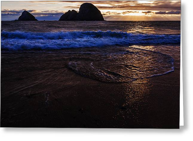 Golden Sunset Oregon Coast Usa Greeting Card by Vishwanath Bhat