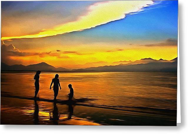 Golden Sunset Silhouettes Greeting Card