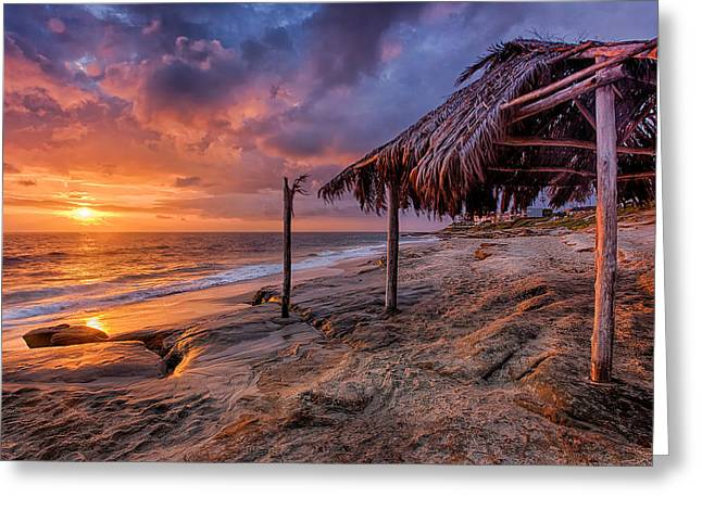 Golden Sunset The Surf Shack Greeting Card by Peter Tellone