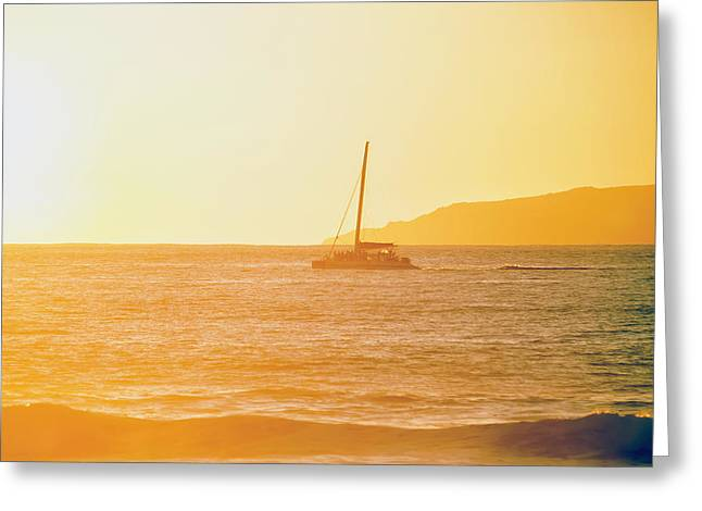 Golden Surf Visible From Barking Sands Greeting Card