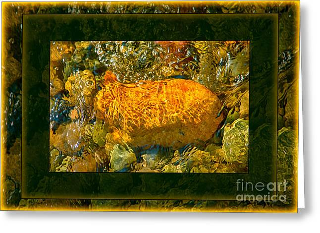 Golden Surprises In The Methow River Abstract Painting Greeting Card