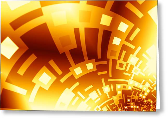 Golden Swirly Circuitboard Greeting Card by Hakon Soreide