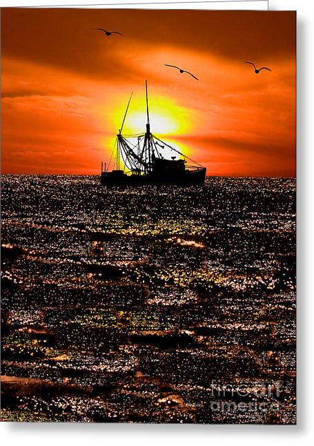Golden Trawler - Outer Banks Greeting Card by Dan Carmichael