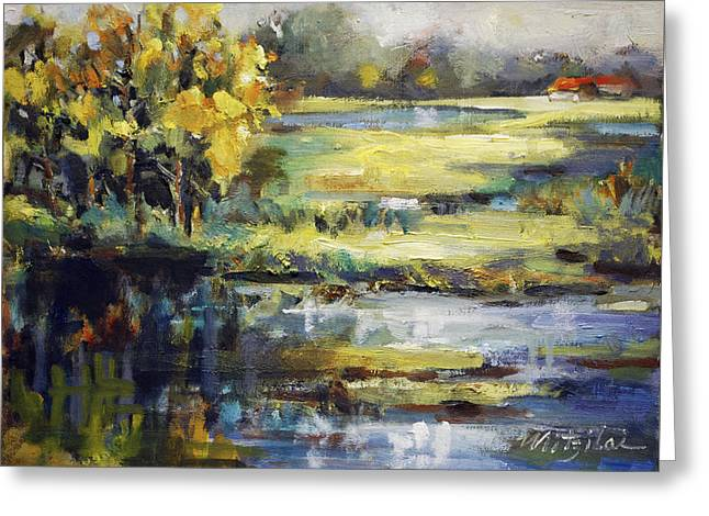 Golden Tree Blue Pond Greeting Card by Mitzi Lai