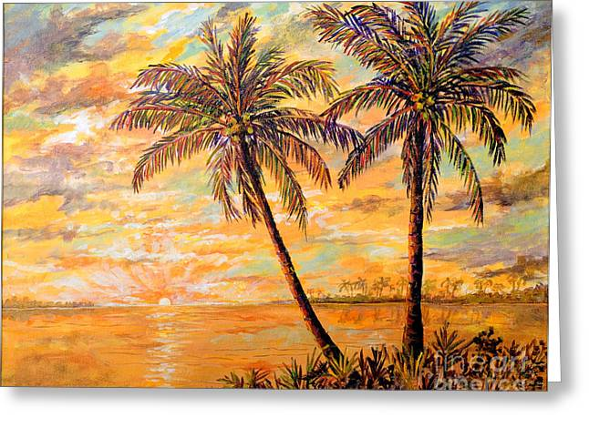 Greeting Card featuring the painting Golden Tropics by Lou Ann Bagnall