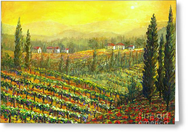 Golden Tuscany Greeting Card by Lou Ann Bagnall