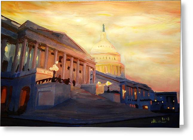 Golden United States Capitol In Washington D.c. Greeting Card by M Bleichner