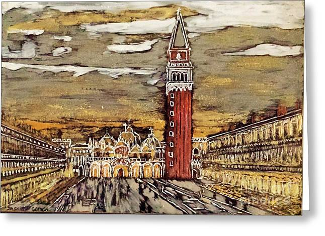 Golden Venice Greeting Card by Jasna Gopic