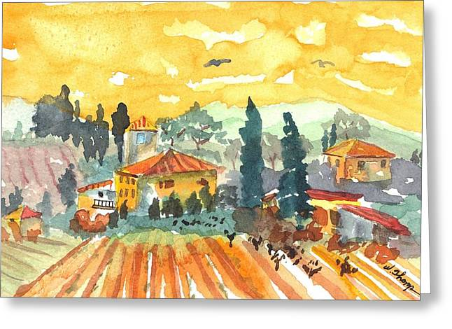 Golden Vineyard  Greeting Card by Warren Thompson
