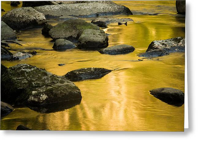 Greeting Card featuring the photograph Golden Water by Jay Stockhaus