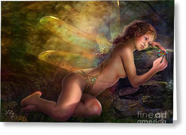 Golden Wings Greeting Card by Drazenka Kimpel