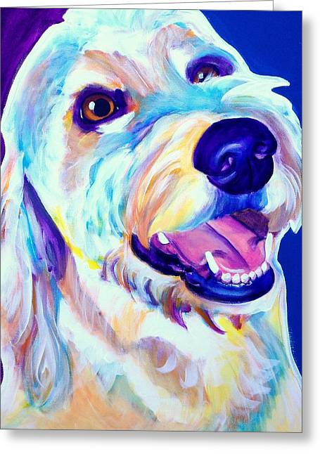 Goldendoodle - Penny Greeting Card by Alicia VanNoy Call