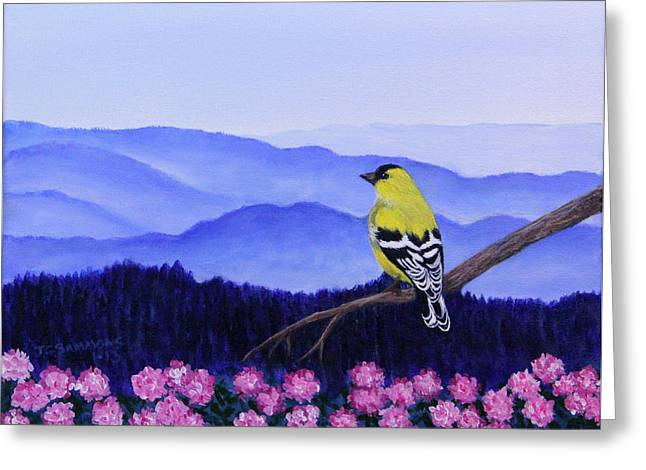 Goldfinch And Rhododendrens Greeting Card