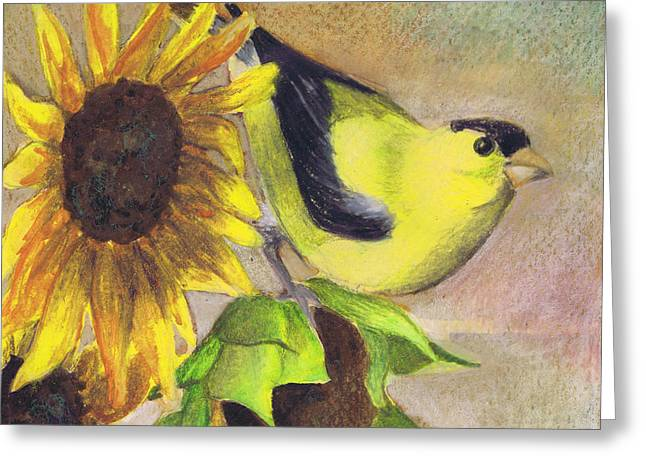 Greeting Card featuring the painting Goldfinch And Sunflowers by Susan Herbst