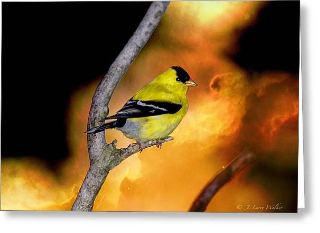 Greeting Card featuring the digital art Goldfinch At The Edge Of The Abyss by J Larry Walker