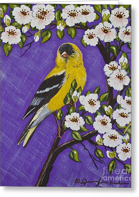 Goldfinch In Pear Blossoms Greeting Card