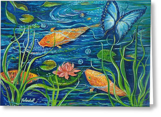 Goldfish And Butterfly Greeting Card by Yolanda Rodriguez