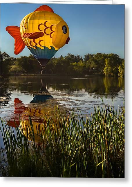 Goldfish Reflection Greeting Card by Linda Villers
