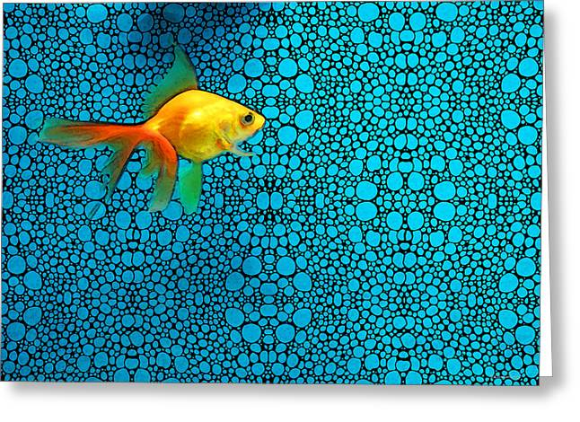 Goldfish Study 3 - Stone Rock'd Art By Sharon Cummings Greeting Card by Sharon Cummings