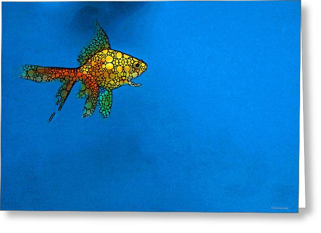 Goldfish Study 4 - Stone Rock'd Art By Sharon Cummings Greeting Card by Sharon Cummings