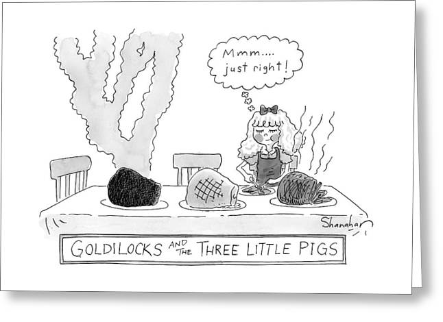 Goldilocks And The Three Little Pigs Greeting Card