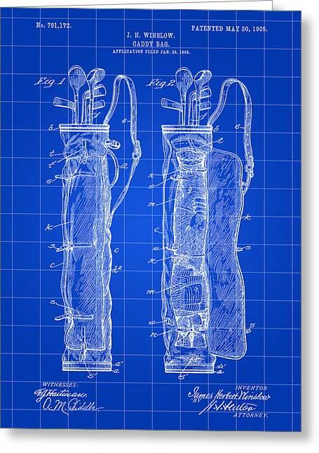 Golf Bag Patent 1905 - Blue Greeting Card