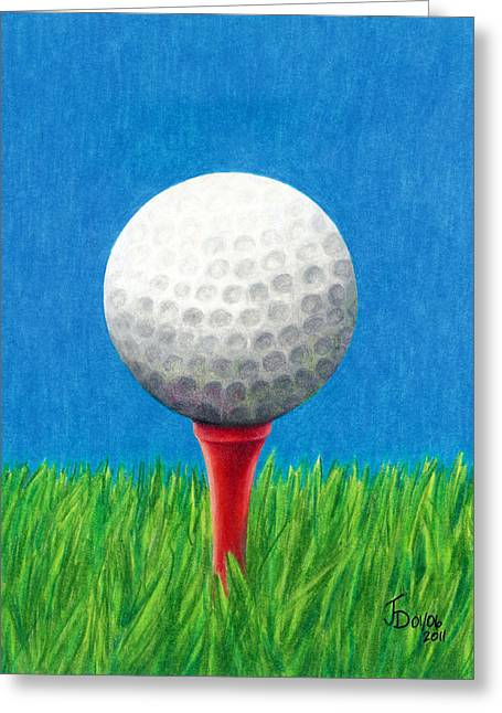 Golf Ball And Tee Greeting Card by Janice Dunbar