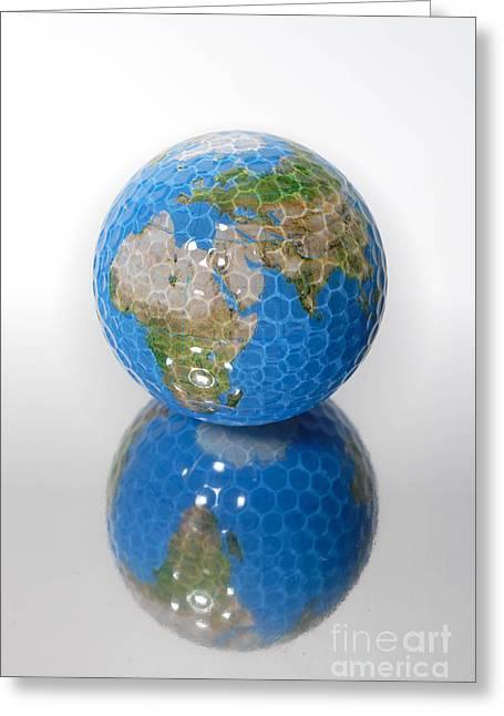 Golf Ball Globe Greeting Card