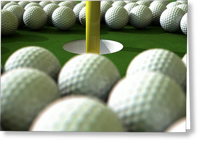 Golf Ball Hole Assault Greeting Card by Allan Swart